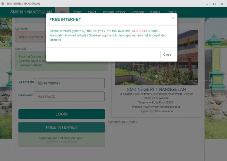 Login page Hotspot Mikrotik untuk sekolah