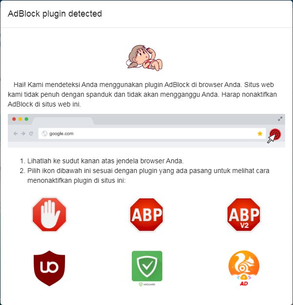 Adblock JavaScript Detector Untuk Mendeteksi Extension Adblock browser